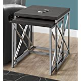 Monarch Specialties I 3226 Nesting Table-2Pcs Set/Grey with Chrome Metal