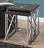Monarch Specialties I 3226, Nesting Table, Chrome Metal, Grey, Table Set, 2 pcs