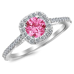 0.85 Carat 14K White Gold Gorgeous Classic Cushion Halo Style Diamond Engagement Ring with a 0.5 Carat Natural Pink Sapphire Center (Heirloom Quality)