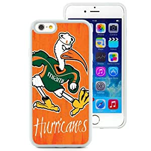 Fashionable And Unique Custom Designed With NCAA Atlantic Coast Conference ACC Footballl Miami (FL) Hurricanes 1 Protective Cell Phone Hardshell Cover Case For iPhone 6 4.7 Inch TPU Phone Case White