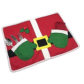 merssavo Navidad Santa Claus Mesa Manteles individuales posavasos, diseño de guante para cubiertos de nuevo: Amazon.es: Hogar