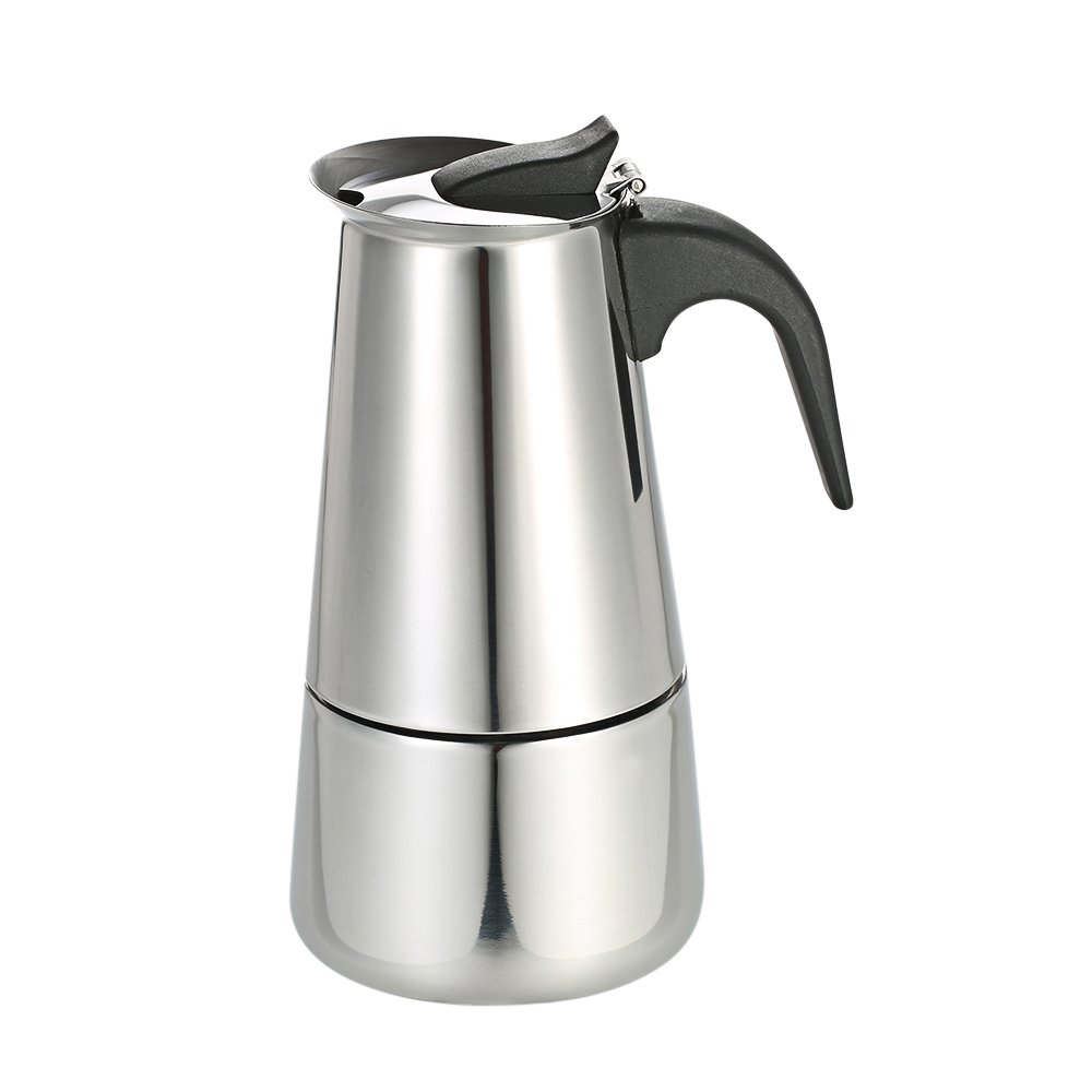 Decdeal Stainless Steel Espresso Percolator Coffee Stovetop Maker Mocha Pot for Use on Gas or Electric Stove 3-9 Cup
