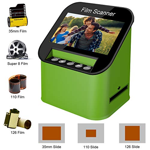 Film Scanner with 22MP High Resolution Slide Scanner Converts 35mm, 110 & 126 and Super 8 Films, Slides and Negatives to JPEG Includes 4.3 Inch TFT LCD Display