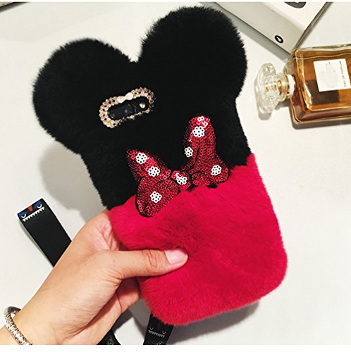 (iPhone 8 Plus Case, iPhone 7 Plus Girls Fur Case ,Bling Diamond Cute Mouse Bowknot Winter Soft Warm Faux Bunny Hair Fur Fuzzy Plush Crystal Cute Case Back Cover for iPhone 8 Plus/7 Plus (Mouse Red))