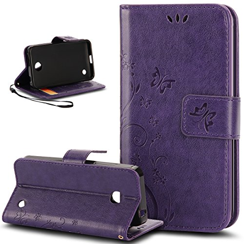 Nokia Lumia 635 Case, Nokia Lumia 630 Case, NSSTAR Butterfly Flower Flip PU Leather Fold Wallet Pouch Case Wallet Flip Stand Credit Card ID Holder Case Cover for Nokia Lumia 630 / 635,Purple