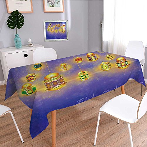 Printed Fabric Tablecloth,islamic muslim holiday blessing background or greeting card with oriental lamps and lanterns,Heavyweight Wrinkle-Free Stain Resistant by SCOCICI1588