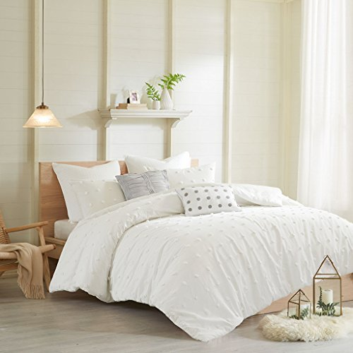 Urban Habitat Brooklyn Teen Girls Duvet Cover Set Twin/Twin XL Size - Ivory, Tufted Cotton Chenille Dots – 5 Piece Duvet Covers Bedding Sets – 100% Cotton Jacquard Girls Bedding Bed Sets