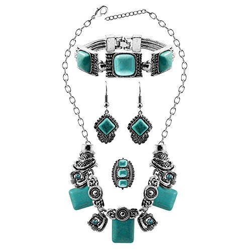 [XY Fancy Fashion Turquoise Jewelry Sets with Earrings, Ring Bracelet and Necklace] (Red Indian Princess Costume)