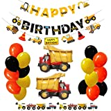 Construction Truck Party Supplies Dump Truck Party Decorations Set for Kids Birthday Party Including Happy Birthday Banners, Construction Banner Dump Truck Foil Balloons, Latex Balloons and Construction Cupcake Toppers