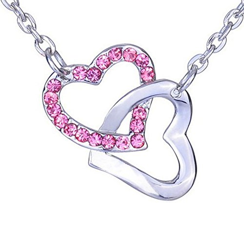 Valentine's Day Gifts for Woman Girlfriend Rhinestone Crystal Double Open Heart Pendant Necklace