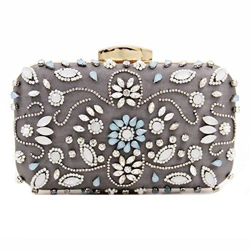 Rinestones Women Vintage Purse Handbag Gray Pearls Eb111 Chain Evening Clutch With Beaded Evening Flower Velvet Detachable Crystals Elegant 8BUqSU