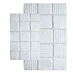 Chesapeake 2-Piece Checkerboard 21-Inch by 34-Inch and 24-Inch by 40-Inch Bath Rug Set, Ivory