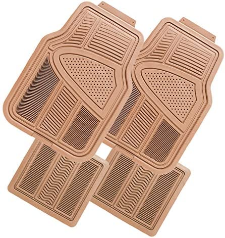 N / A Matdology Heavy Duty Rubber Floor Mats for Car, SUV and Truck, Universal Fit 4pc Front & Rear Vehicle Floor Mats All Weather Protection, Tan Beige