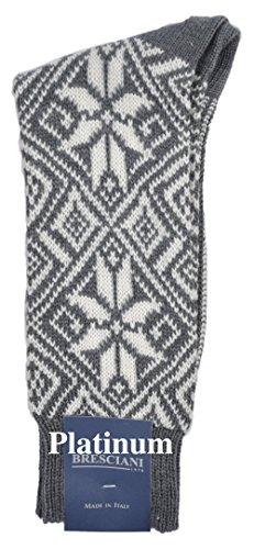 ExtraFine Merino Nordic Mid-Calf Boot Socks - One Pair Large Platinum Grey ()