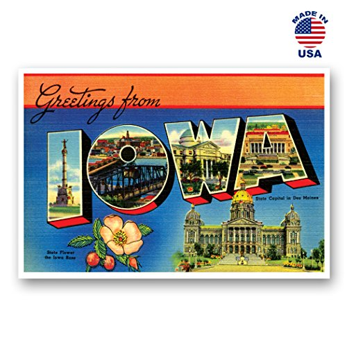 GREETINGS FROM IOWA vintage reprint postcard set of 20 identical postcards. Large letter US state name post card pack (ca. 1930's-1940's). Made in USA.