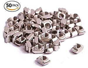 Shapenty 50 Pack Carbon Steel Female Thread T-Nut Hammer Head Drop In T Slot Nut for 20 Series Aluminum Extrusion by Shapenty