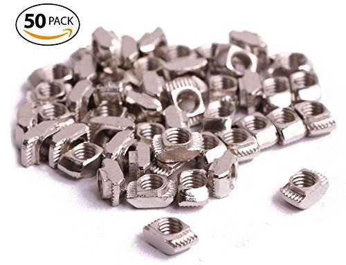 Shapenty 50 Pack Carbon Steel Female Thread T-Nut Hammer Head Drop In T Slot Nut for 20 Series Aluminum Extrusion (Silver, M5) Aluminum Nuts Bolts