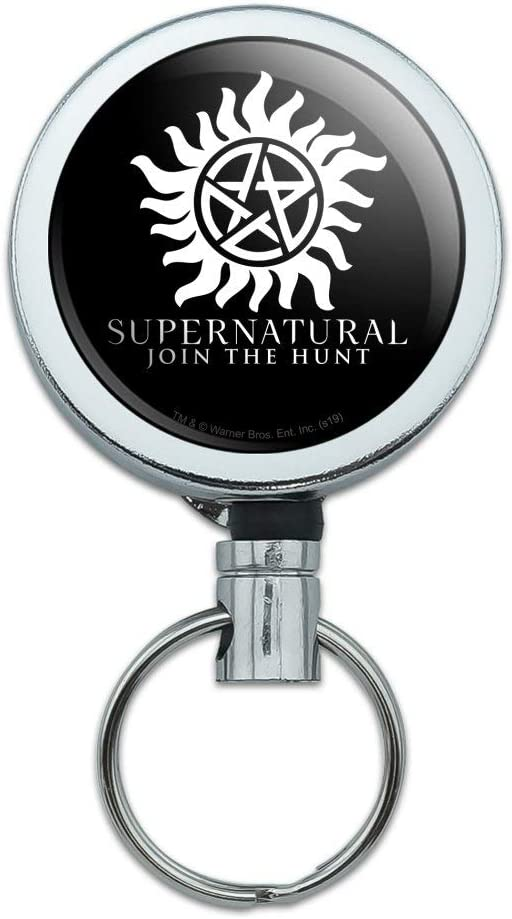 Supernatural Anti Possession Symbol Heavy Duty Metal Retractable Reel ID Badge Key Card Tag Holder with Belt Clip