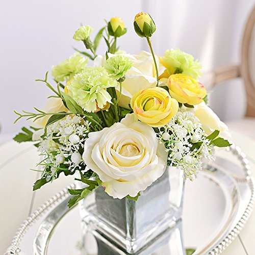 Artificial False Rose Silk Flowers Wedding Garden Decor Decoration White - 9