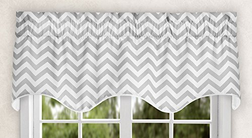 (Ellis Curtain Reston Chevron Stripe Lined Scallop Valance, 50