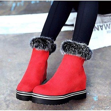 Stivali Rosso casual CN39 pelle Nero in di di Babbucce US8 moda UK6 stivaletti Nappa tacco Stivali donna da inverno RTRY abbigliamento EU39 Scarpe Chunky wqgxzWTIU