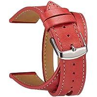 Cooljun Compatible Apple Watch Series 4 40mm/44mm,Bracelet de Remplacement Bande en Cuir à Double Cercle
