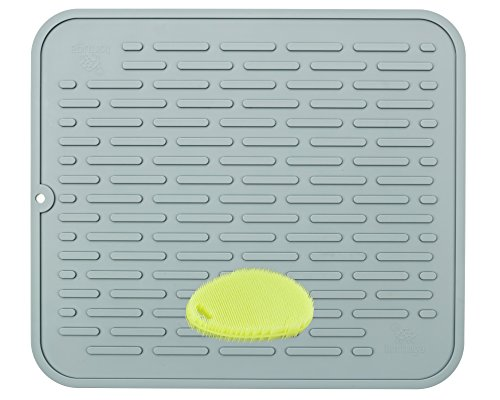 XL Premium Silicone Dish Drying Mat & Counter Protector with BONUS Scrubby |Hygienic, Antibacterial |Stable Wide Ridges | Easy To Wipe Clean & Dishwasher Safe |Heat Resistant 450º 17.8 x 15.8