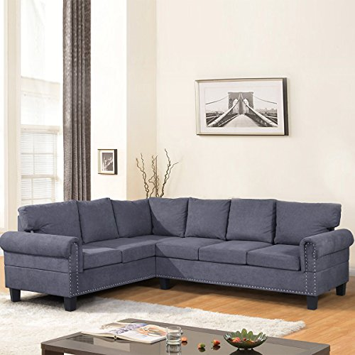 Harper & Bright Designs L-shaped 2 Piece Sectional Sofa Set with Nail Decorate (Grey)