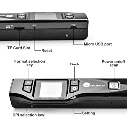 TaoTronics Handheld Mobile Portable Document scanner 1050 DPI 1.44\'TFT Colour & Mono, Color Display (For Photo, Reciepts, Books,JPG/PDF Format Selection, Micro SD Card required but not included)