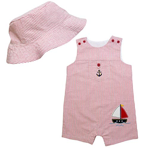 Good Lad Newborn/Infant Boys Appliqued Seersucker Shortall with Matching Seersucker Hat (24M, Red)