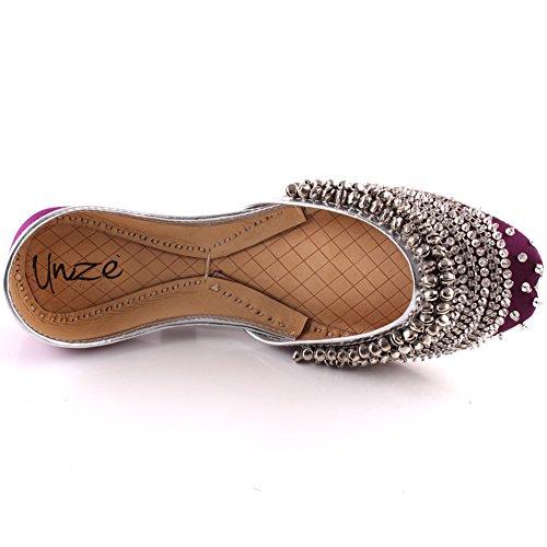 Du Khussa 3 Maren Paillettes Uk Violet Cloches « » Unze Embelli Soir Mehndi Traditionnelles 8 Femmes Dîner Taille vqZqOwt
