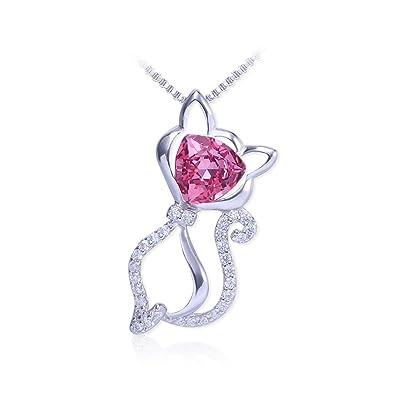 HZH Halskette Elegante Katze Anhänger 925 Sterling Silber Weibliche  Schlüsselbein Kette Schmuck Geschenk (Color   Pink)  Amazon.de  Schmuck b61d2b81b8