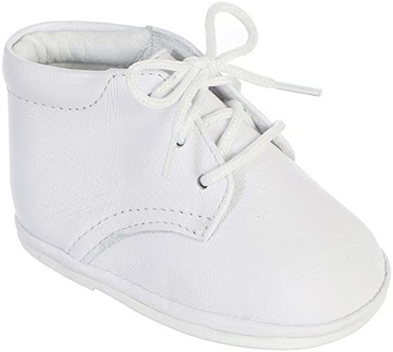 Baby Boys White Patent Leather Oxford Lace Up Shoes Booties Baptism Christening