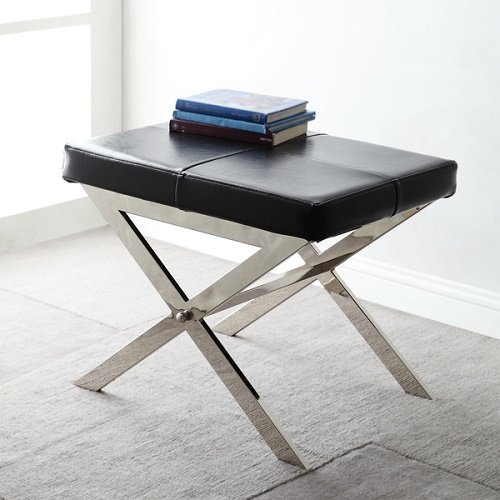 Home Southport Black Bonded Leather 22-inch Metal Bench by Unknown