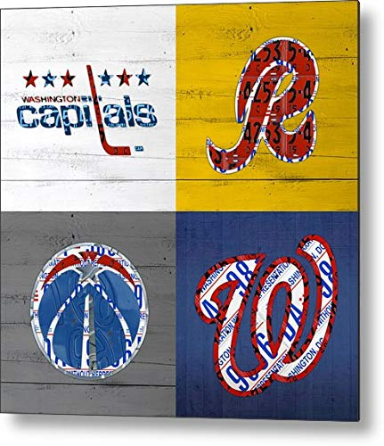 (KPSheng Washington Dc Sports Fan Recycled Vintage License Plate Art Capitals Redskins Wizards Nationals Metal Sign 12x12 Tin Signs)