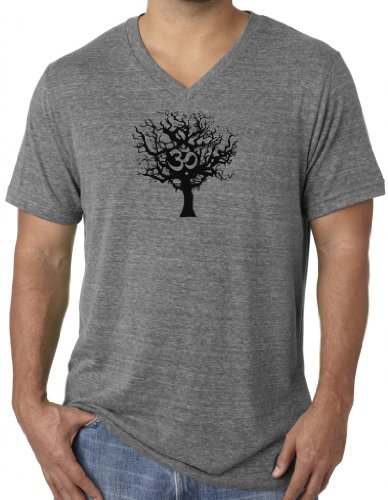 Mens BLACK TREE Tri Blend V-neck Tee Shirt, 2XL Grey Triblen