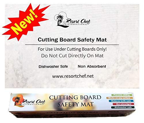 Non-Slip Safety Kitchen Cutting Board Mat - Hygienic Non-Absorbent and Dishwasher Safe. By Resort Chef. NEW! -