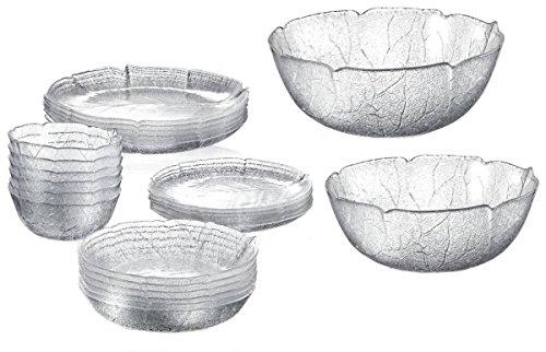 Serie Aspen Glasschalen / Glasteller in versch. Größen Größe 6 x Dessertteller flach 19cm