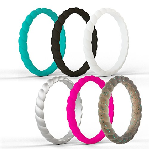 beilove Thin and Stackable Silicone Wedding Ring for Women,Twist Braided Band Rings,Size 4-9(Z:Black,White,Silver,Deep Pink,Grey black with Turquoise Glitters,Teal, (Twist Wedding Band Ring)