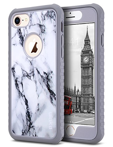 ULAK iPhone 8 & 7 Case Shock-absorbing Flexible Durability TPU Bumper Case, Durable Anti-Slip, Front and Back Hard PC Defensive Protection Cover for Apple iPhone 7 4.7 inch, Artistic Marble (Pattern Protective Case)