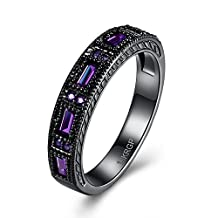Star Jewelry Black Gold Filled Sapphire Stone Clear Cubic Zirconia CZ Wedding&Engagement womens Rings