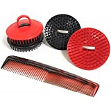 Shampoo Scalp Massage Brush 4 Pack (2 Black and 2 Red Brushes)