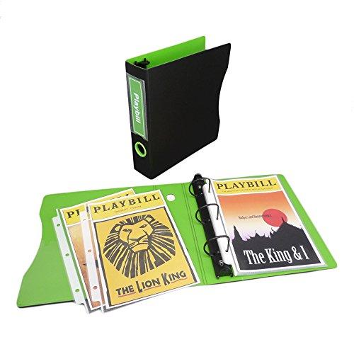 Binder Set for Playbills, 2 Keepfiling 5.5 x 8.5 D-Ring Binder, 1 pack of 5.5 x 8.5 Sheet Protectors (50 sheets) (Black/Lime Green)
