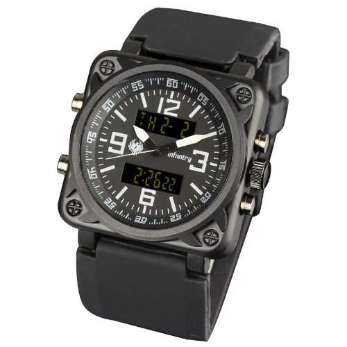 USA Military Aviator Captain Mens Army Digital Analog Combi Water Resistant Sport Quartz Wrist Watch Black Rubber Strap #IN-023-BLK-R, Watch Central