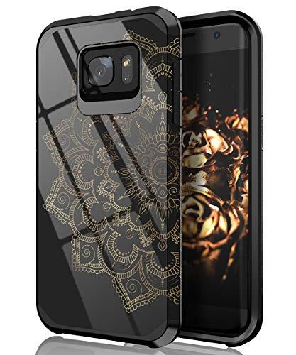 Betonshop Galaxy S7 Edge Case,Cute Mandala Flower Case Dual Layer Heavy Duty Hybrid PC+TPU Heavy Duty Protective Anti-Scratch Shockproof Fit for Samsung Galaxy S7 Edge Mandala/Black