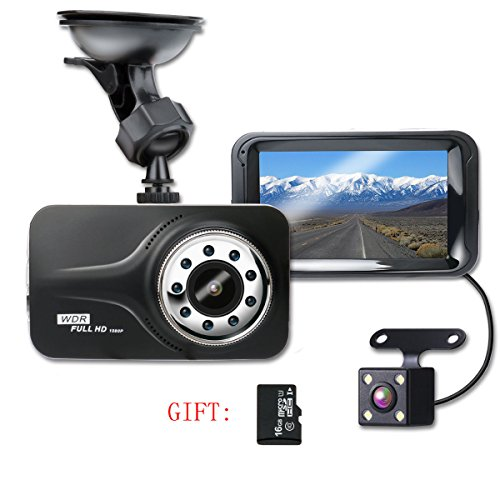 SHISHUO Dash Cam, 1080P HD 3 Inch Screen Dual Cameras Front and Rear, Vehicle On-dash Video Recorder, Parking Monitoring, HDR Night Vision, Motion Detection, Built In G-Sensor and 16G Micro SD Card.