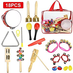 CrzKo Toddler Musical Instruments 18 in 1 Kids Toy Mini Band Wooden Percussion, Pre-School Educational Play Set, Percussion Set for Boys and Girls Birthday Gifts with Zippered Carrying Bag