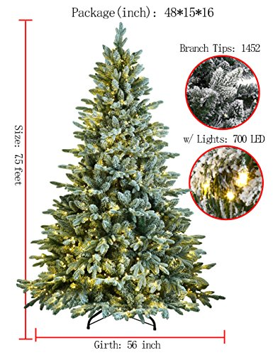 ABUSA Flocked Prelit Artificial Christmas Tree 7.5 ft Snowy Spruce with 700 LED Clear Lights 1452 Branch Tips by ABUSA (Image #2)