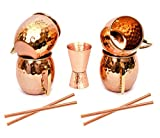 Moscow Mule Copper Mugs - Set of 4-100% Pure Copper Handcrafted - Food Safe Pure Solid Copper Mugs - 16 oz Gift Set with Bonus Cocktail Copper Straws and Jigger! (curve2)