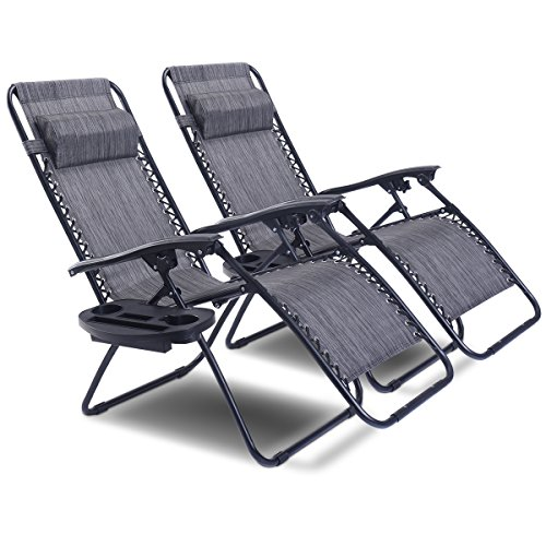 Goplus Zero Gravity Chair Set 2 Pack Adjustable Folding Lounge Recliners for Patio Outdoor Yard Beach Pool w/Cup Holder, 300-lb Weight Capacity (Light (Outdoor Indoor Lounge Chair)